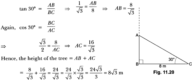Some Applications of Trigonometry Class 10 Extra Questions Maths Chapter 9 with Solutions Answers 8