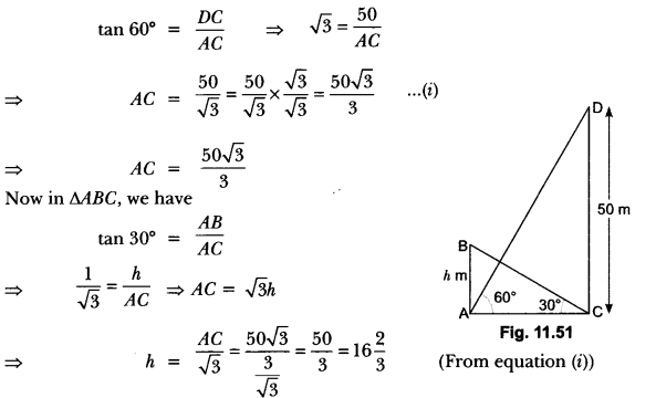 Some Applications of Trigonometry Class 10 Extra Questions Maths Chapter 9 with Solutions Answers 49