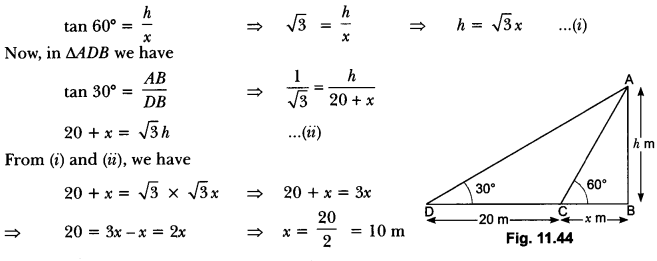 Some Applications of Trigonometry Class 10 Extra Questions Maths Chapter 9 with Solutions Answers 40