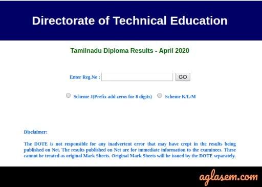TNDTE Diploma Result April 2020