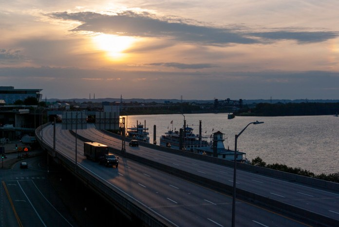 Sunset off the George Rogers Clark Memorial Bridge
