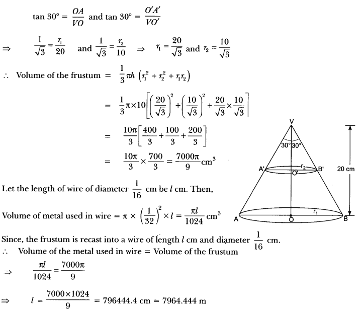 Surface Areas and Volumes Class 10 Extra Questions Maths Chapter 13 with Solutions Answers 79