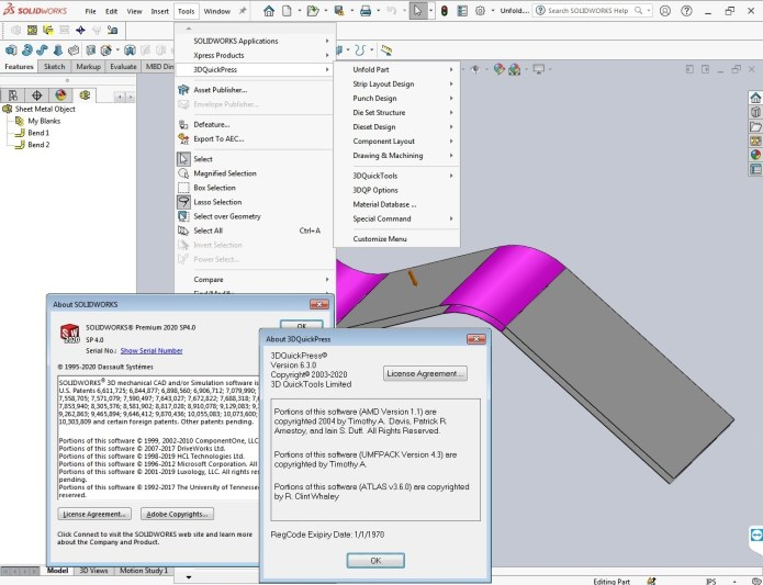 Working with 3DQuickPress v6.3.0 for SolidWorks 2012-2020 x64 full