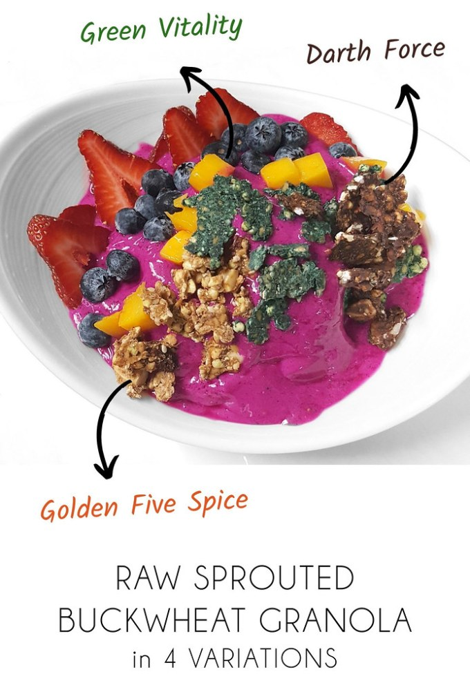 Raw Sprouted Buckwheat Granola – 4 Variations