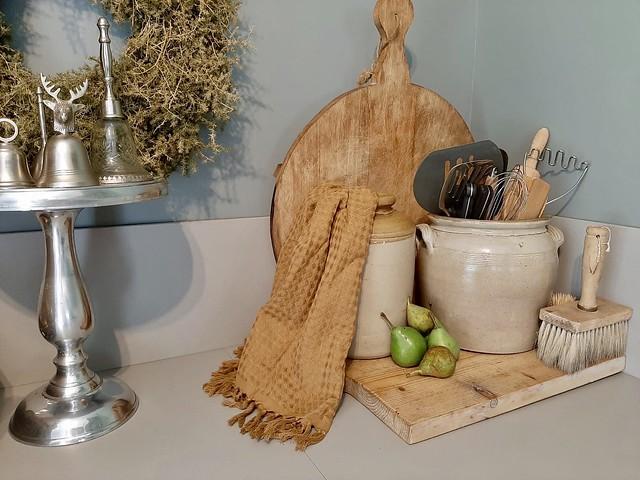 Keulse potten houten snijplank etagere aanrecht