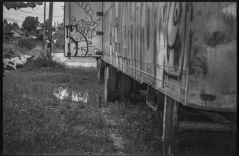 abandoned tractor trailor, Asheville Waste Paper Company, Asheville, NC, Leica C1, Fomapan 200, Moersch Eco film developer, late August 2020