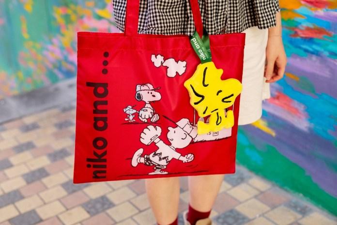 紅色的輕便環保袋展現 Snoopy 、Charlie Brown、Woodstock及Lucy打棒球的日常,享受做運動帶來的幸福感