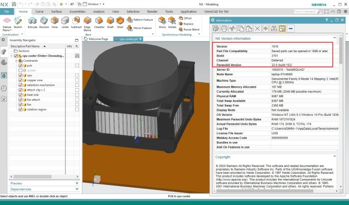 Working with Siemens NX 1919 Build 3701 full license