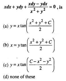 Maths MCQs for Class 12 with Answers Chapter 9 Differential Equations Q25