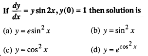 Maths MCQs for Class 12 with Answers Chapter 9 Differential Equations Q39
