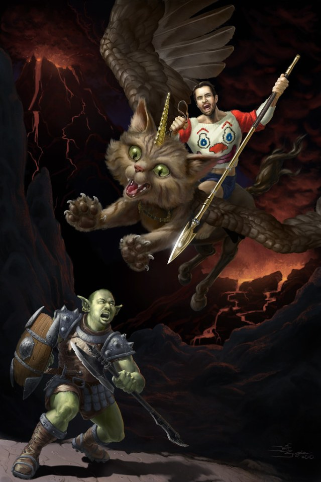 me as an orc, doing battle with a totally ripped Wil Wheaton, who is astride, of course, a unicorn pegasus kitten.