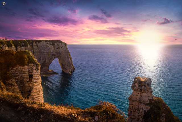Sunset on the Cliffs of Étretat