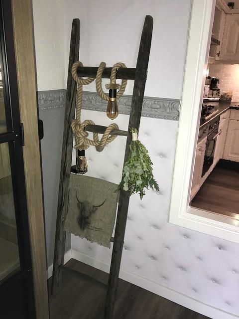 Ladder looplamp linnen doek