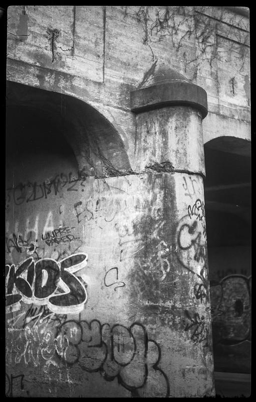 urban decay, abandoned railroad bridge, concrete, graffiti, RIverside Drive, Asheville, NC, Kochmann Korelle folding camera, Kodak TMAX 400, HC-110 developer, 10.1.20