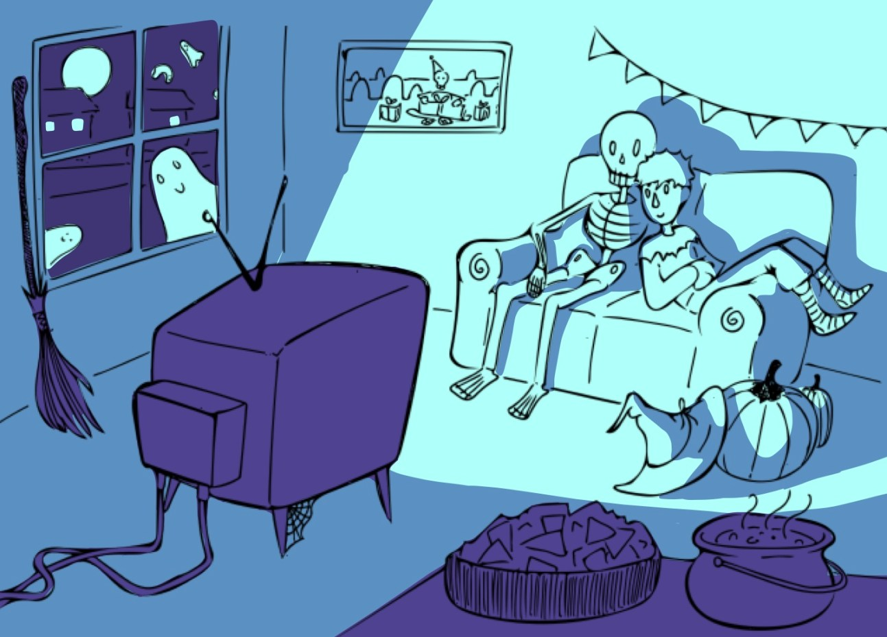 Watching spooky movies illustration