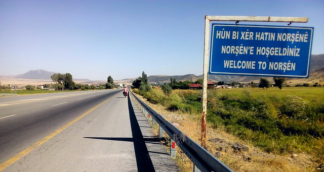 """Welcome to Norşên (aka Güroymak)"" in Kurdish, Turkish, and English; that's Nemrut at the left by bryandkeith on flickr"