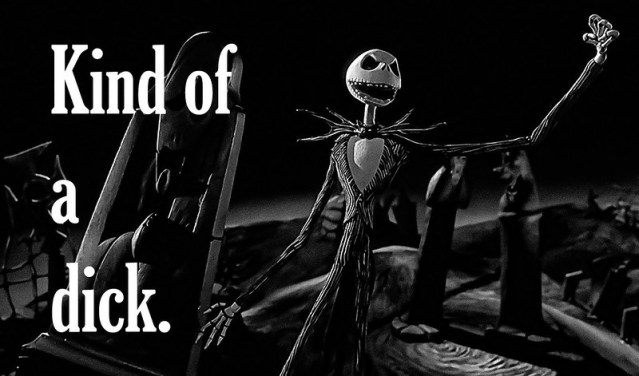 A picture of Jack Skellington with the words,