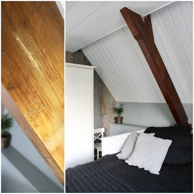 Houten balk landelijke slaapkamer