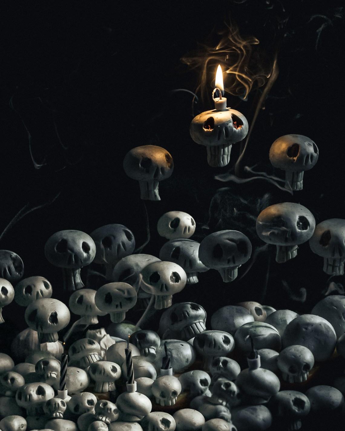 halloween mushroom skulls