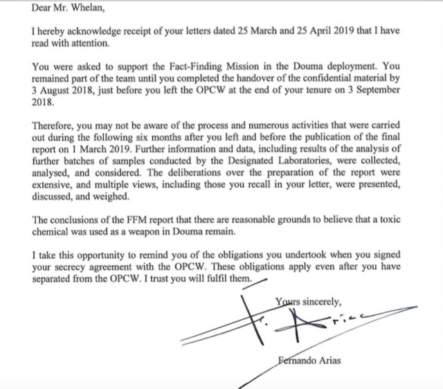 Vraie lettre envoyée à Whelan