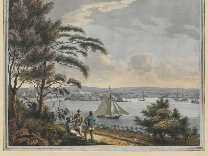 "The BL King's Topographical Collection: ""View of Drake Island, the Citadel of Plymouth, with Cat Water, Mount Batton and the Sound, from the Cottage on Mount Edgcumbe"""