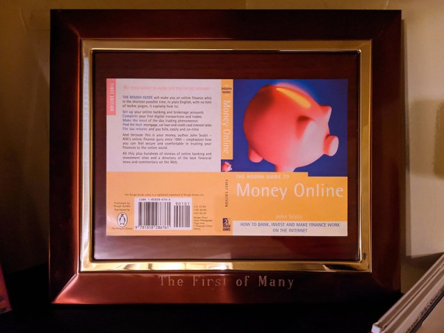 The cover flap for The Rough Guide to Money Online, framed.