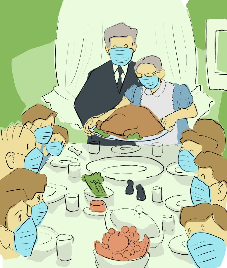 covid thanksgiving illustration