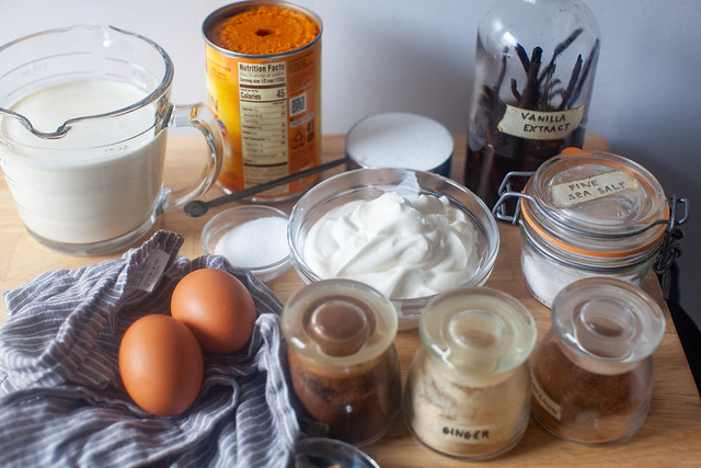 baked pumpkin and sour cream puddings