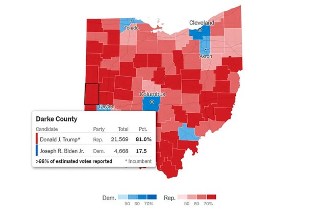 A map of Ohio with each of its counties; Darke County is highlighted. It gave 81% of its vote to Trump.