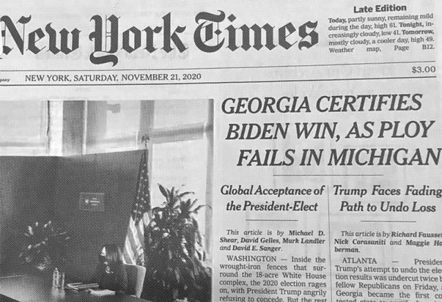 Excerpt from today NY Times front page, noting Biden win in Georgia (again).