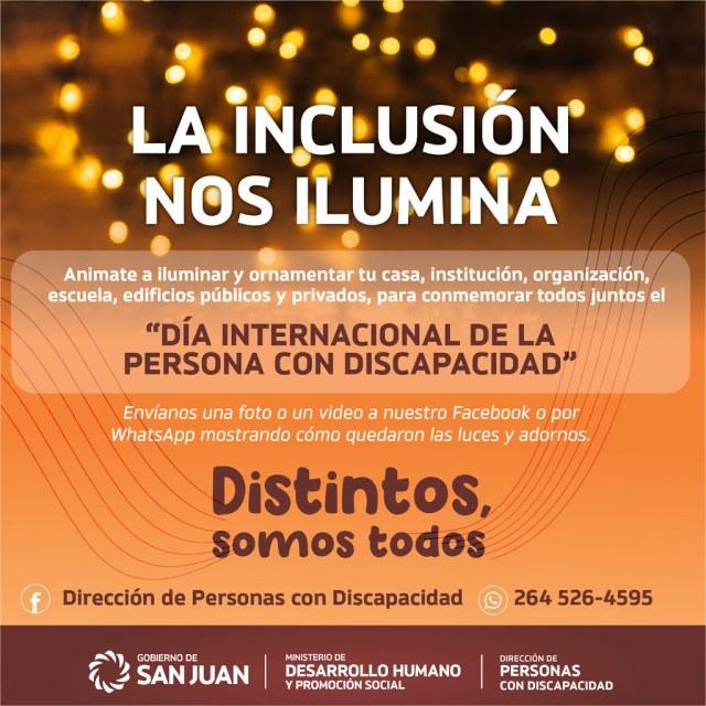 """2020-12-01 DESARROLLO HUMANO: Campaña """"LA Inclusión nos ilumina"""" Dia de la Discapacidad"""