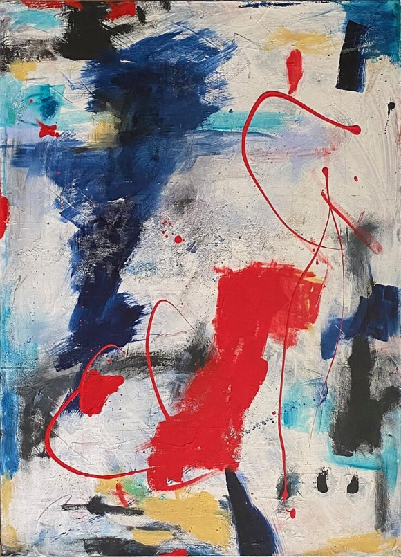 Red Bird at the White Horse Tavern - a new Original Contemporary Modern Abstract Art with Mark Making by NYC artist Sarah Fox