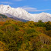 Autumn leaves and Mt.Yatsugatake with the fresh snow