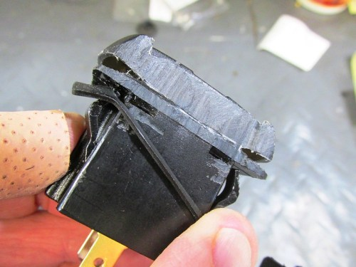 """Removing Edge of USB Socket So It Slides Past The """"V"""" In The Dash"""