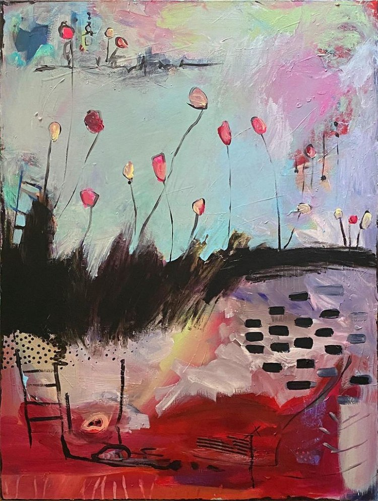 Postcard - Poplars in the Lilac Garden is a new original fine art abstract contemporary expressionism painting during the pandemic by nyc artist sarah gilbert fox