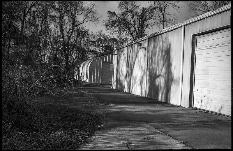 rear facade, storage buildings, late light,elongated shadows, river district, Asheville, NC, Ansco Super Memar, Fomapan 200, Moersch Eco film developer, 12.8.20