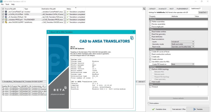 Working with BETA-CAE Systems CAD TO ANSA TRANSLATORS v20.1.4