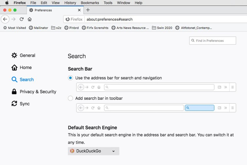 Firefox preferences to change search engine