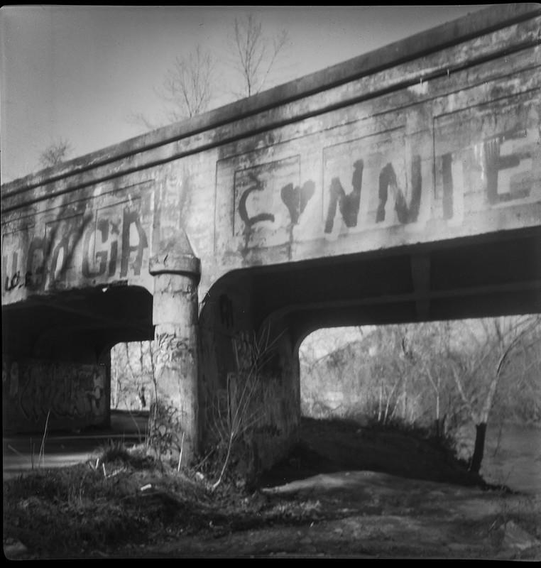concrete railroad bridge, crumbling, abandoned, late light, Emma Road, French Broad River, Asheville, NC, Flektar twin lens reflex, Fomapan 200, Moersch Eco film developer, 12.13.20