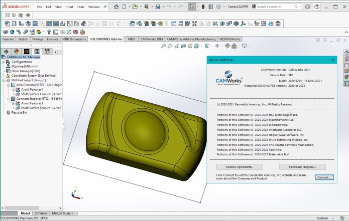Working with CAMWorks 2021 SP0 for SolidWorks 2020-2021 full