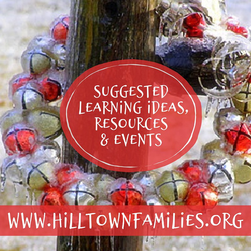 Photography of a circle of sleigh-bells on a fence post. Text overly invites homeschoolers to discover suggested learning ideas, resources, and events.
