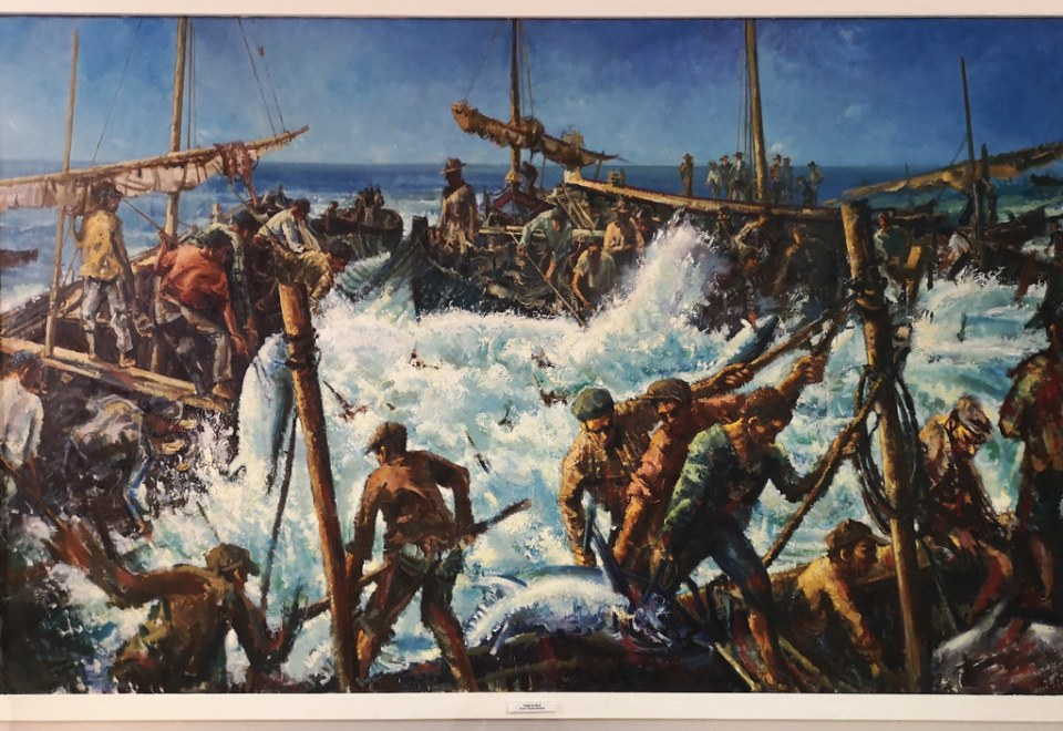 captura del atun barcas y pescadores pintura de Carlos Porfírio Museo Regional del Algarve Faro Portugal