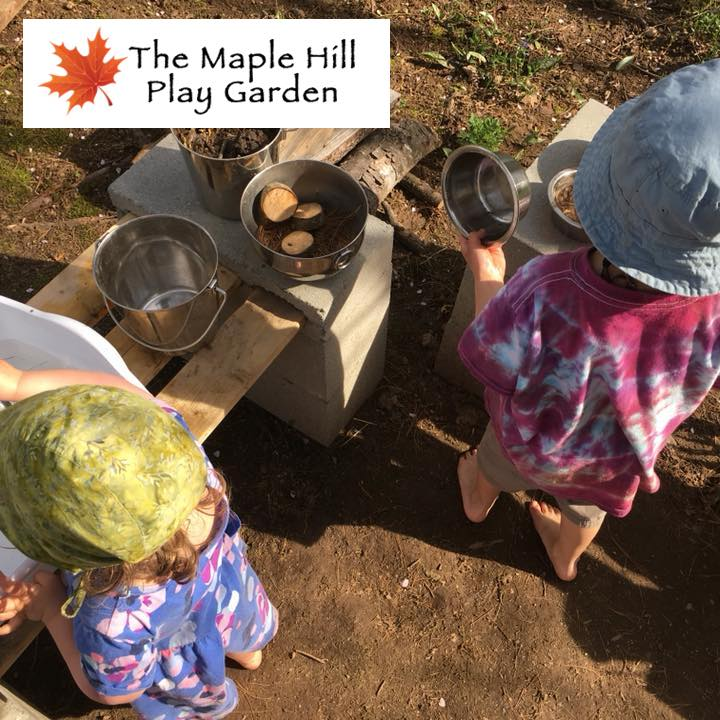 "Photograph of barefoot children involved in creative-free play outdoors with ""The Maple Hill Play Garden"" logo overlay."