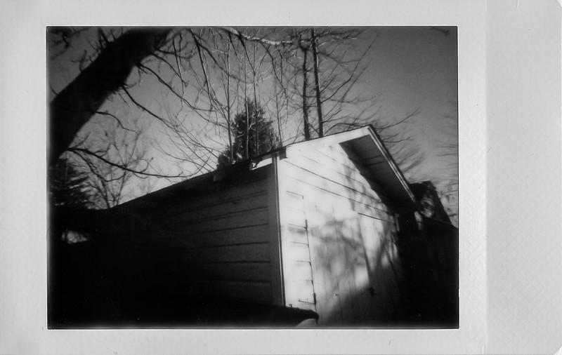 garage, tree forms, cast shadows, sunset, Asheville, NC, Lomo'Instant, Instax Mini Monochrome, 1.10.21