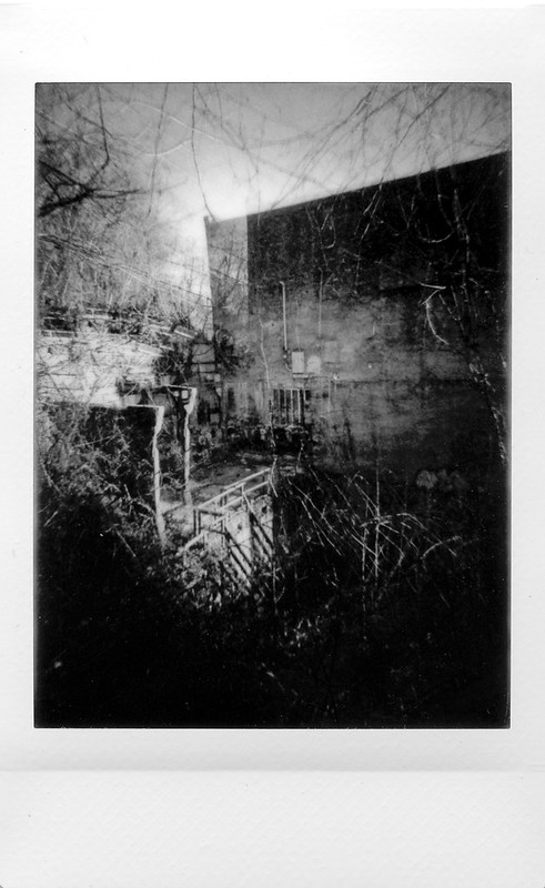 looking down, loading dock, abandoned mill, double exposure, River Arts District, Asheville, NC, Lomo'Instant, Instax Mini Monochrome, 1.7.21