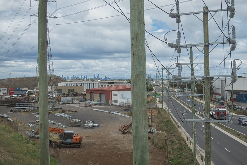 The View East from the new bridge in Laverton over Dohertys' Road