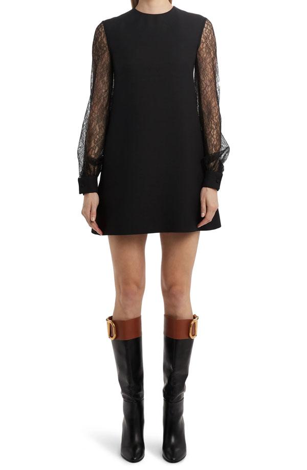 valentino-lace-sleeve-crepe-shift-dress