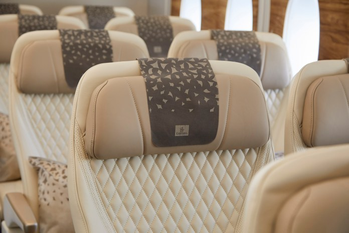 New A380 Premium Economy seat with anti-stain leather and luxurious stitching details
