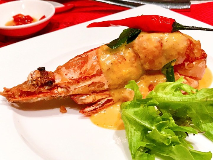 Braised Giant Prawn with Salted Egg Cream