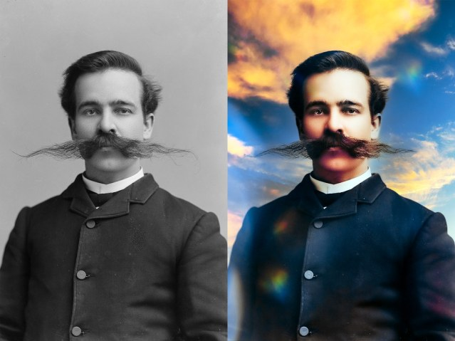 Before and after photo of a George Miles, from c. 1892. The first photo is black and white, the second in full color. He has a ridiculous mustache in both.